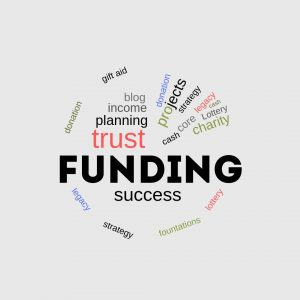 Funding consultant logo as word cloud